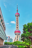 SHANGHAI-MAY 24, 2015. Oriental Pearl Tower on  blue sky backgro Royalty Free Stock Photos