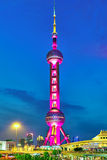 SHANGHAI-MAY 24, 2015. Oriental Pearl Tower at the nighttime. To. Wer 470 meter the Oriental Pearl is one of Shanghai's tallest buildings, located at Lujiazui stock image
