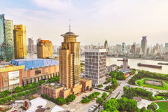 SHANGHAI-MAY 24, 2015. Skyline view from Bund waterfront on Pudo Stock Image