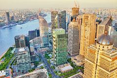 SHANGHAI-MAY 24, 2015. Skyline view from Bund waterfront on Pudo Stock Images