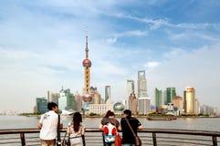 Shanghai Bund and tourists Stock Photography