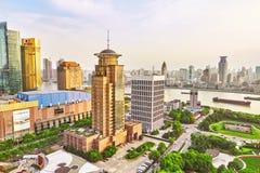 24 Shanghai-MEI, 2015 Horizonmening van Dijkwaterkant op Pudo Stock Afbeelding