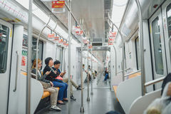 Shanghai Metro, China. SHANGHAI, CHINA - MAY 05, 2016: People in Shanghai metro Stock Image