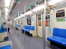 Shanghai metro interior. Metro Line 9 with many empty seats in Shanghai China Stock Photo