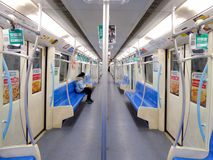 Shanghai metro interior. Metro Line 9 with many empty seats in Shanghai China Stock Image