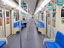 Shanghai metro interior. Metro Line 9 with many empty seats in Shanghai China Stock Photos