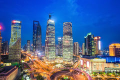 Shanghai midtown at night. Shanghai at night aerial view of lujiazui downtown, China Stock Images