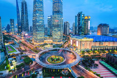 Shanghai midtown in nightfall royalty free stock image