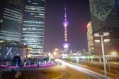 Shanghai modern city landmark background night view of traffic Stock Photos