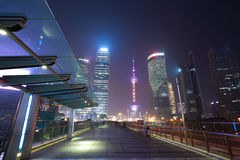 Shanghai modern city landmark background night view of traffic Stock Images