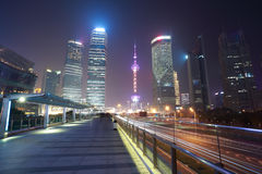 Shanghai modern city landmark background night view of traffic Stock Images