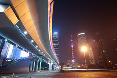 Shanghai modern city landmark background night view of traffic Royalty Free Stock Photos