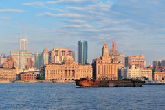 Shanghai morning with boat Royalty Free Stock Photo
