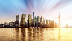 Skyline of Shanghai Pudong at sunrise, China Royalty Free Stock Photos