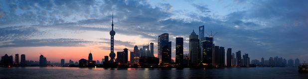 Shanghai morning silhouette Royalty Free Stock Photography