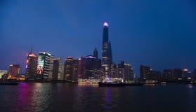 Shanghai-Nachtskyline-Ansicht Lizenzfreie Stockfotografie