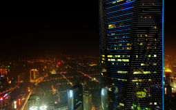 Shanghai-Nachtvogelperspektive Lizenzfreie Stockfotografie