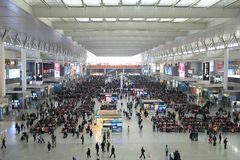 Shanghai Hongqiao Railway Station Waiting inquiry. Shanghai-Nanjing High-speed Railway started operating on July 1st 2010. Travel time between the two cities is Royalty Free Stock Images