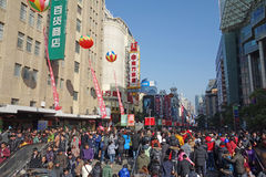 Shanghai nanjing road pedestrian street. 2013 new year in nanjing road Royalty Free Stock Photo