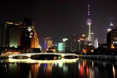 Shanghai natt Arkivfoton