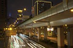 Shanghai natt Arkivbild