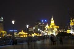 Shanghai nattbakgrund Royaltyfri Foto