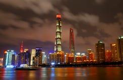 Shanghai nattsikt Fotografering för Bildbyråer