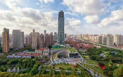 Shanghai Natural History Museum. Is located in the Jing`an Sculpture Park surrounded by the highrises Stock Photography