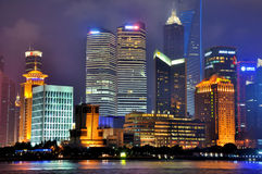 Shanghai new business Pu-dong area night, China Royalty Free Stock Photo