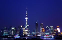 Shanghai night. Skyline with blue sky Stock Photo