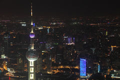 Shanghai at night. Oriental Pearl Tower and Shanghai at night Stock Photography