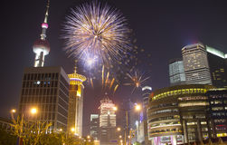 Shanghai by night. With fireworks Royalty Free Stock Images