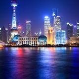 Shanghai at night. Beside the huangpu river Stock Photos