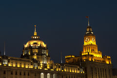 Shanghai at night. Buildings with great history in Shanghai (Hotel Waldorf Astoria im front Royalty Free Stock Photos