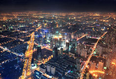 Shanghai night aerial view. Shanghai city aerial view at night with lights and urban architecture Stock Photography