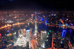 Shanghai night aerial view. Shanghai city aerial view at night with lights and urban architecture Royalty Free Stock Images