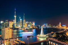 Shanghai at night. Beautiful metropolitan in China Royalty Free Stock Images