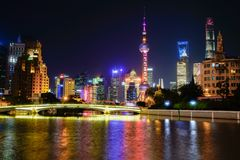 Shanghai bund lujiazui night scene stock photo