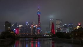 Shanghai night central city skyline time lapse. Beautiful colorful downtown district stock video footage