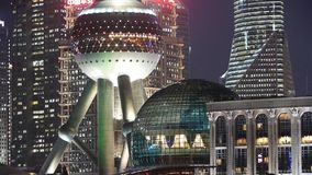 Shanghai night,closeup of pearl-town & Lujiazui financial building. stock footage