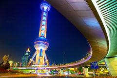 Shanghai at night. Lujiazui finance and trade zone at night, Shanghai, China Stock Photo
