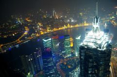 Shanghai at night panorama Royalty Free Stock Image