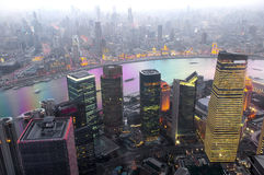 Shanghai at night panorama Royalty Free Stock Photos