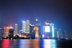 Shanghai night panorama Stock Photos