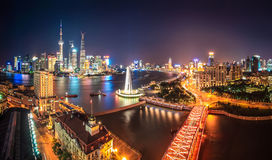 Shanghai at night. Panoramic of pudong skyline and the bund with huangpu river Royalty Free Stock Photography