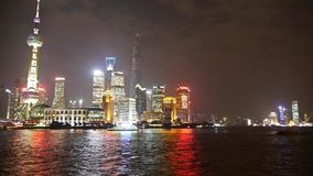 Shanghai at night,Pudong Lujiazui economic center. Gh2_06869 stock video footage