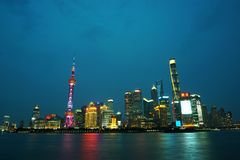 Shanghai skyline night scene. In the image, there are some skyscrapers of Shanghai at night Royalty Free Stock Images