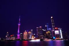 Shanghai skyline night scene. In the image, there are some skyscrapers of Shanghai at night Royalty Free Stock Photo
