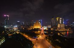 Shanghai at night. The night sky Royalty Free Stock Photos