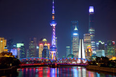 Shanghai at night. Shanghai skyline at night with illuminated Waibaidu bridge, China Royalty Free Stock Photos